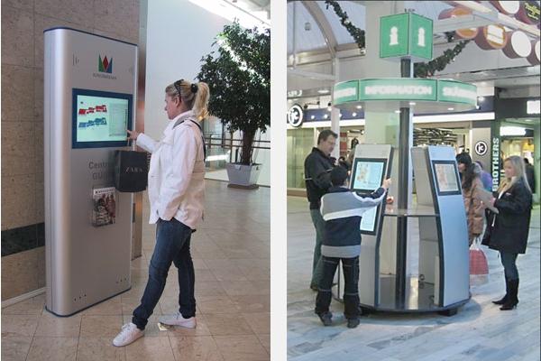 Infostandere med touch screen bruges i en lang række svenske indkøbscentre, bl.a. Kungsmässan (Kungsbacka, t.v.) og Skärholmen (Stockholm, t.h.).
