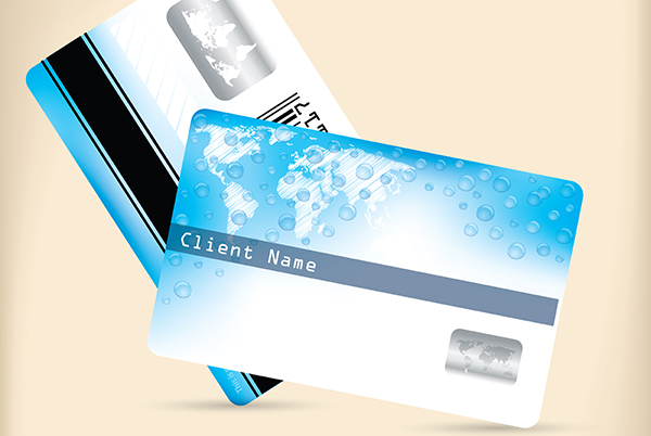 Plastic cards in credit card format with chips, magnetic stripes, barcodes